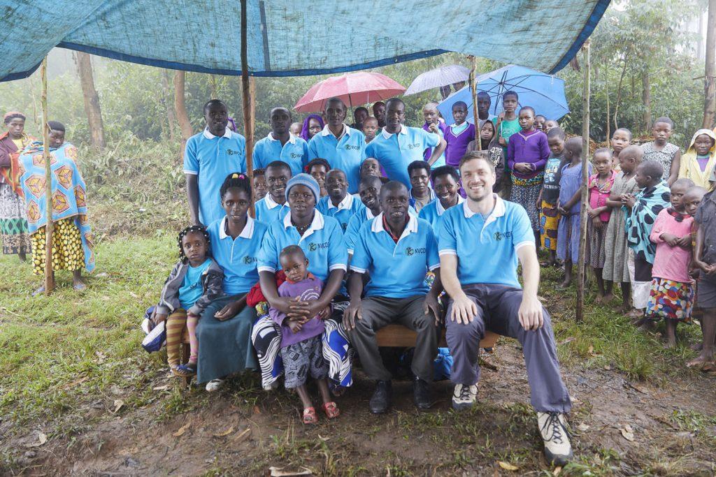 Members and friends of the Nkuringo Vulnerable Children Development Foundation